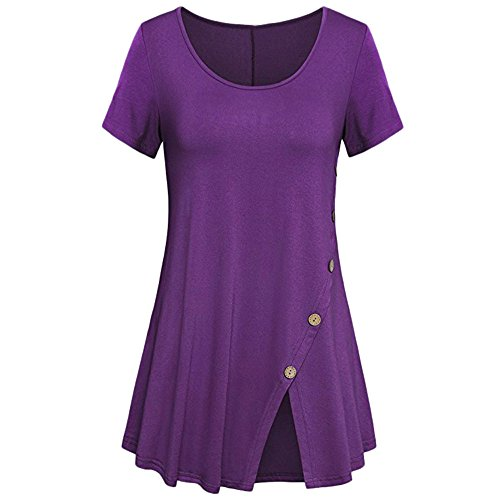 Londony✚‿✚ Women Button Tunic Top Short Sleeve Flare T Shirt for Leggings Loose Fit Comfy Flattering T Shirt Purple