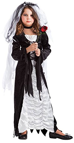 [Fun World Girls Coffin Bride Child Costume Black/white Small] (Bride Child Halloween Costume)