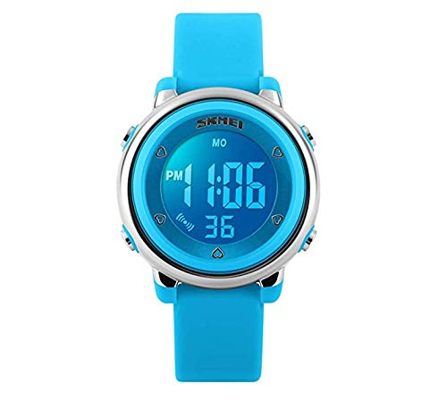 Kids Digital Watch Children Sports Outdoor Dress Watch Boy Girls Waterproof LED Alarm Wrist Watch - Blue