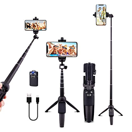 Selfie Stick Tripod Cell Phone Tripods 40 inch Bluetooth with Wireless Remote Shutter Compatible with iPhone X/8/8P/7/7P/6s/6P