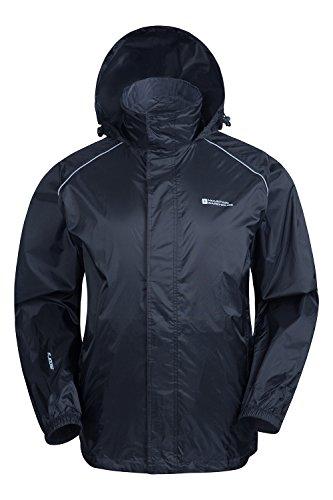 Mountain Warehouse Herren Pakka Wasserdicht Jacke Regenjacke Einpackbar Faltbar Mantel Windjacke outdoor sport Schwarz X-Large