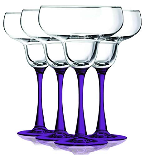 Purple Accent Stem 9.5 oz Margarita Wine Glasses – Set of 4 by TableTop King – Additional Vibrant Colors Available