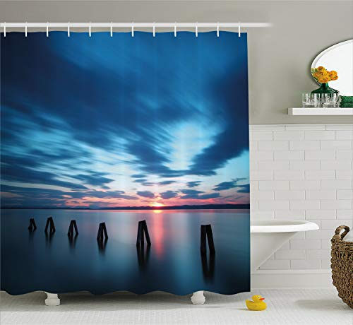Ambesonne Ocean Shower Curtain by, Calm Seascape At Sunset in Vietnam Motion Effected Clouds Twilight Scenery, Fabric Bathroom Decor Set with Hooks, 75 Inches Long, Dark Blue Blue Coral