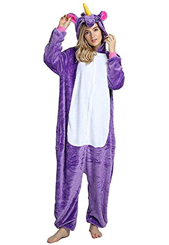 Women's Sleepwear Unicorn Costume Onesie Adult Kids Pajamas Halloween Xmas Gift Christmas Costume (Adult#XL,Purple-1(Adult)) ()