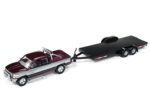 1996 Dodge Ram Burgundy and Silver with Car Trailer Limited Edition to 4360 pieces Worldwide Truck and Trailer Series 1 1/64 Diecast Model Car by Johnny Lightning JLBT006 A