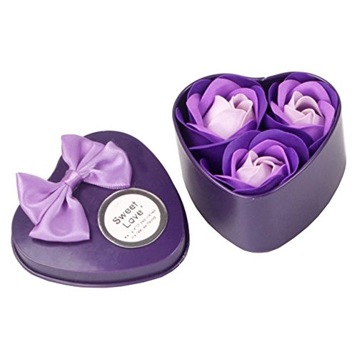 - LiPing 3Pcs Heart Scented Bath Body Petal Rose Flower Soap Wedding Decoration for Kitchen & Household Cleaning (Purple)
