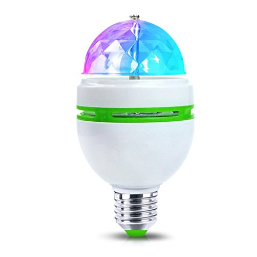 YJY Magic Multicolor RGB Auto Rotating LED Light Bulb, E27 Stage Lamp for Disco Projection Xmas Party DJ, E26 3W 110V 120V 220V - 2 Pack