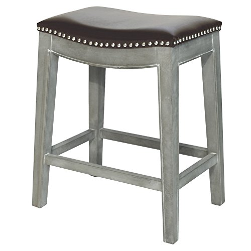 Elmo Bonded Leather Counter Stool,Distressed Gray Legs,Brown (Distressed Contemporary Leather Brown)