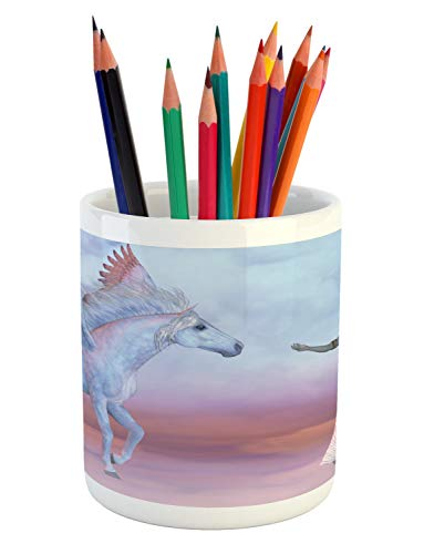 (Ambesonne Athena Pencil Pen Holder, Dreamy Fantasy Illustration of a Woman and a Horse with Wings Feels Print, Printed Ceramic Pencil Pen Holder for Desk Office Accessory,)