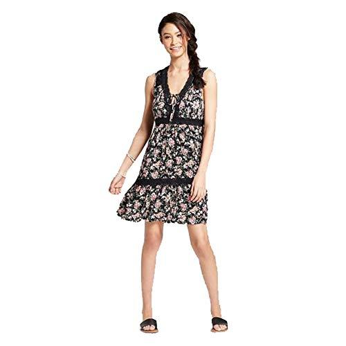 (Xhilaration Women's Floral Print Sleeveless V - Neck Babydoll Sundress (Black, M))