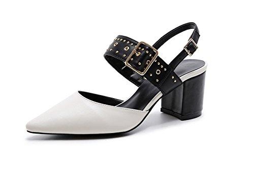 34 Schuh Spitze Knopf Frauen Nieten Quadrat starke Fersen 38 Leder hochhackige Frauen Sommer Frauen Sandelholz NVXIE beschuht OFXpSZnx