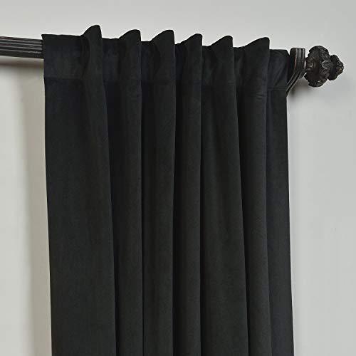 ChadMade Set of 2 Solid Matt Velvet Curtain Panel Drapes Back Tab/Rod Pocket Black 50W x 72L Inch Each, Birkin Collection