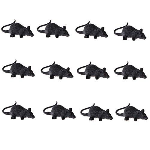 Perfk 全12点入り 子供 ネズミ マウス動物モデル 知育 教育おもちゃ 4カラー選ぶ いたずらおもちゃ - ブラックの商品画像