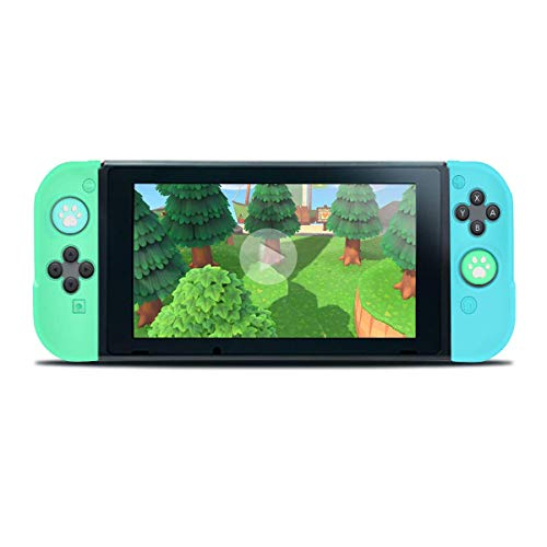 Case for Nintendo Switch Joy Con, Unionup Joycon Grip Cover for Animal Crossing New Horizons, Protective Skin Shell in Soft Silicone with Anti-Scratch and Non-Slip for Controller (Blue & Green)
