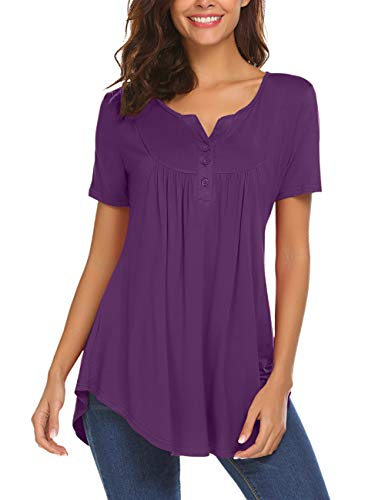 Womens Tunic Top Loose Short Sleeve V Neck Button Up Pleated Henley Shirts Blouse T Shirt Purple 3XL