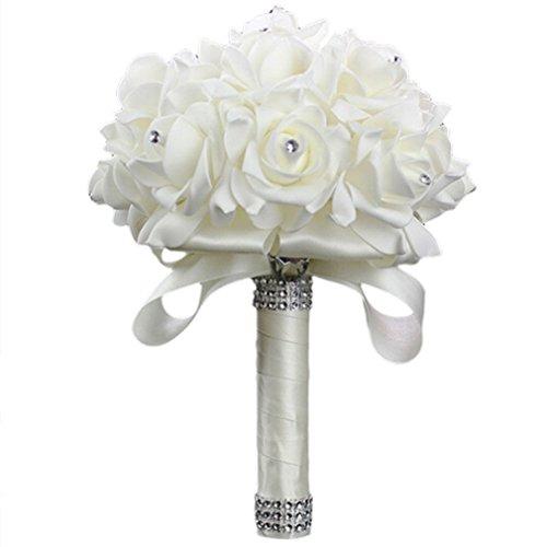 Vipe Handmade Crystal Bridal Wedding Bouquet Silk Flower Bridesmaid Foam Brooch (White)