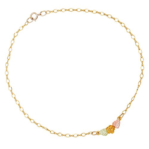 Petite Rose Flower Anklet Bracelet, 10k Yellow Gold, 12k Green and Rose Gold Black Hills Gold Motif