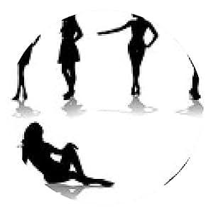 alfombrilla de ratón Siluetas de chicas hermosas, ilustración vectorial - ronda - 20cm