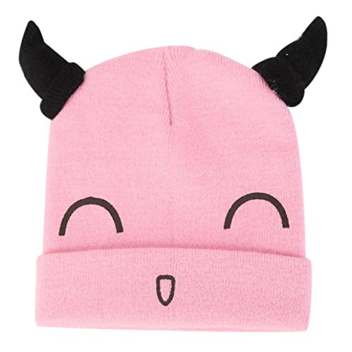 - Weiyun Boys and Girls Baby Cotton Hat Handmade Infant Horn Hat Cute Smiley Face Crochet Knit Cap (Pink)
