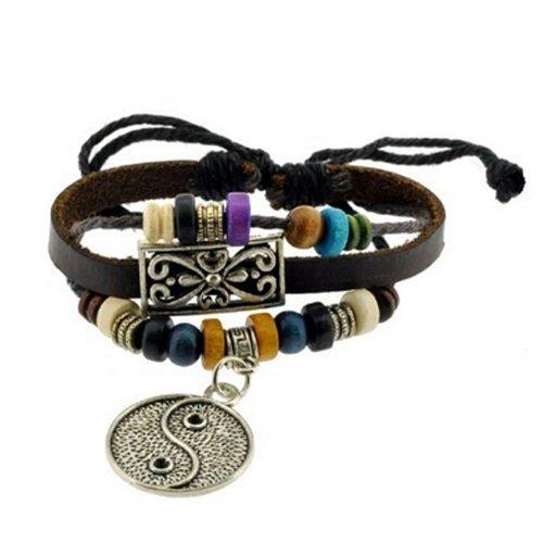 Yin Yang Symbol Zen Bracelet Leather Bracelet Wristband Surf