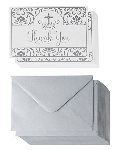 Thank You Notecards - 48-Pack Thank You Notes, Postcard Style Religious Floral and Cross Design, Bulk Thank You Cards and Envelopes, Silver, 4 x 6 Inches by Best Paper Greetings