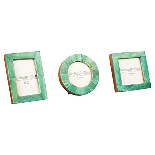 Handicrafts Home Baby Picture Frame for Newborn Girls and Boys Shower - Birthday Gifts Vintage Photo Frames Set of 3 Pieces (Green) ()