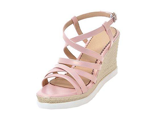 Heels Pu Sandals Open Women's Pink Buckle High Toe WeenFashion CA18LB04784 qxBZYIw7n0