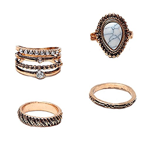 Fettero Ring Vintage DIY Womens Boho above Knuckle Stack Nail Joint Band Midi Mid Finger Tip Turquoise Set of 4 Gold Crystal