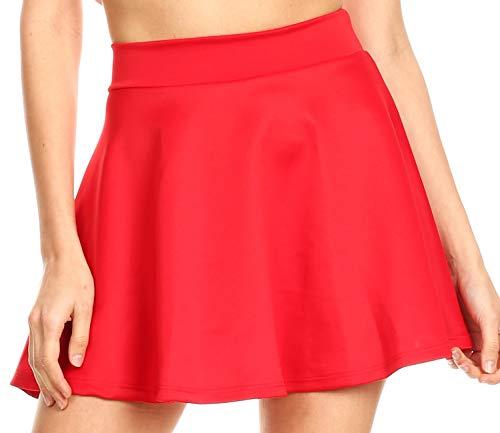 Sakkas 13-6794 - Womens Basic Versatile Stretchy Flared Casual Mini Skater Skirt Made in USA - Red - M