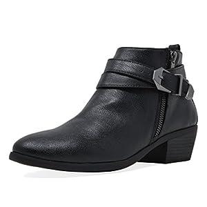 TOETOS Women's Cowboy Block Heel Side Zipper Ankle Booties
