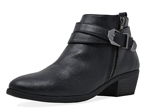 Ankle Leather Bootie (TOETOS Women's Pitts-01 Black Pu Block Heel Side Zipper Ankle Booties Size 9 M US)
