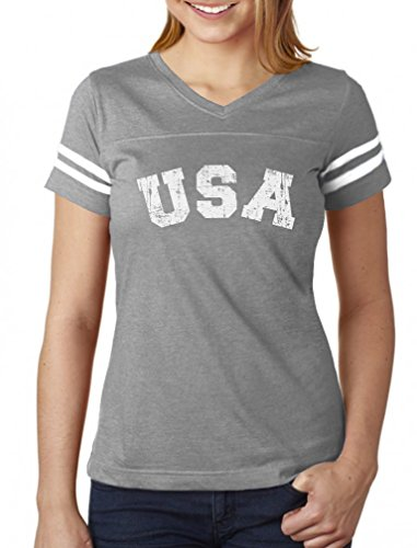 USA 4th of July Shirt for Women Patriotic Retro American Football Jersey Tshirt X-Large ()