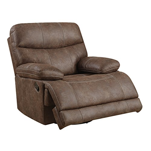Emerald Home Earl Brown Recliner with Microfiber Upholstery