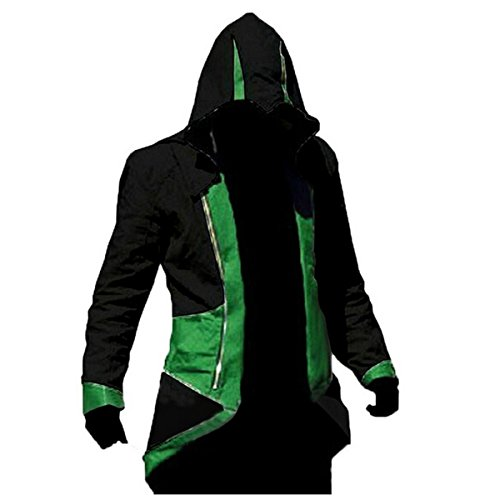 Ainiel Unisex Anime Cosplay Custome Windbreaker Cool Long Sleeve Costume Jacket (Adult-size 2XL, Green and