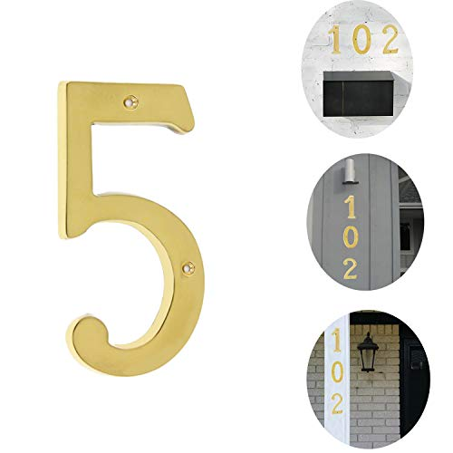 Bebarley 4 Inch Premium Bright Solid Brass Door House Numbers and Street Address Plaques Numbers for Residence and Mailbox Signs. (Number 5)