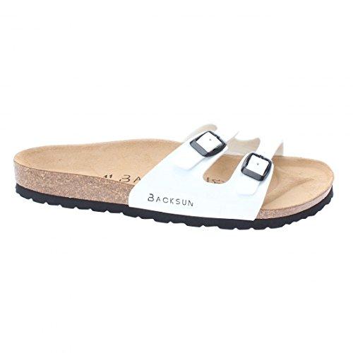 Backsun - Tongs / Sandales - Maldives Homme Blanc Vernis Semelle Noire - Blanc