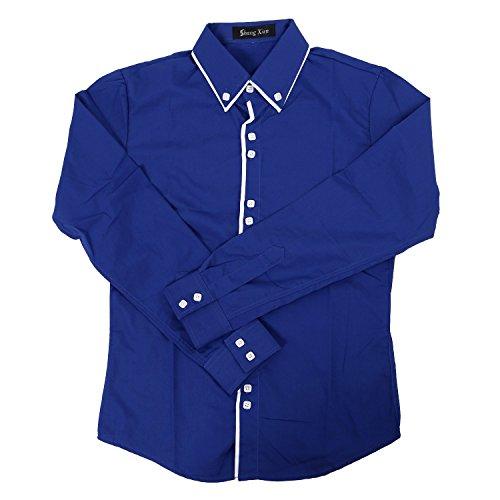 SODIAL(R) Nouveau Mode Casual Double Col Contraste Patte de Boutonnage Chemise a Manches Longues Hommes Bleu Marine XXL