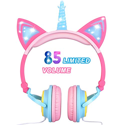 Glowing Unicorn Kids Headphones for Girls Boys Toddler – Unicorn Cat Ear LED Headphones Light Up Wired Adjustable Foldable 85dB Volume Limited Kids On/Over-Ear Headphones for School Birthday Gift