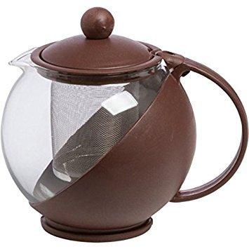 Om Joy Small Herbal Loose Leaf Tea Brewer Tea for Two Teapot (25 Oz): Coffee Brown