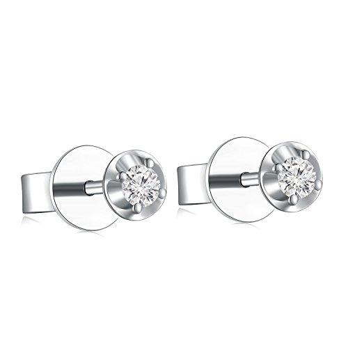 18ct 750Or blanc sertie d'un diamant Cercle plaque Boucles d'oreille à tige (0,13CT, G-H Couleur, Vs2-si1Clarté) Femme Bijoux Cadeau Saint Valentin