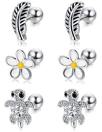 ORAZIO Cartilage Earrings for Women Girls Stainless Steel Tiny Feather Turtle Flower Stud Earrings Helix Tragus Barbell Piercing Jewelry 16G