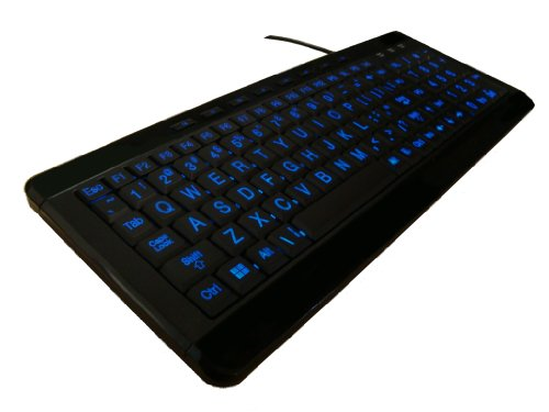 iMBAPrice Large Font Print USB LED Backlit Keyboard, Orange and Blue (iMBA-LOB-BKB)