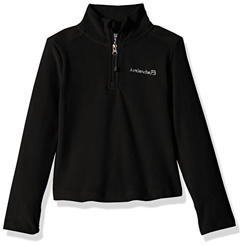 Avalanche Girls' Little' Quarter Zip Fleece Pullover Top, Alpine Black, 6X