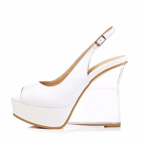 WSS chaussures à talon haut Talons femme wedges plate-forme sandales verre cristal disque arrière anneau trichiurus bouche cuir chaussures . white . 39