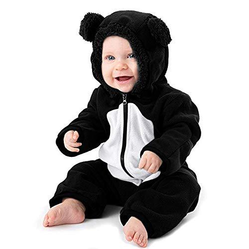 Suma-ma Cartoon Bear Ear Hooed Full Zip Jumpsuit Kid Winter Fleece Pajamas Coat