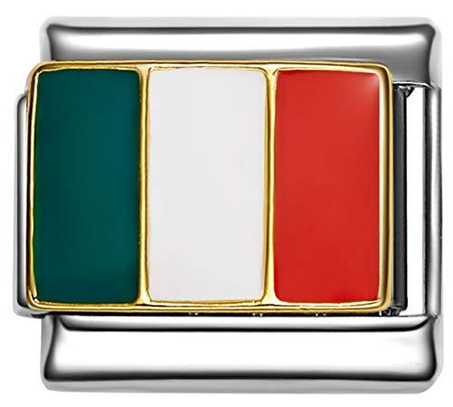 (Stylysh Charms Italy Italian Flag Enamel Italian 9mm Link PE019 )