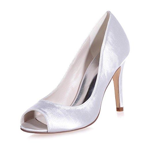 forme Hauts Chaussures Dehors Plate Orteil L Les Sur Un En Yc Soie De 5623 12 Talons De Mariée L'argent En Jeter Satin Femme De Oeil xBqXzZqw