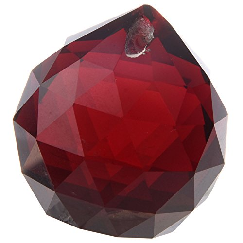 Ball Vintage Gold - 2Pcs 40mm Vintage Feng Shui Faceted Decorating Color Crystal Ball Prism /Red/Pink/Blue/Black/Gold /Green Crystal Ball (Red)