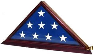 Solid Wood Memorial 5' x 9.5' Flag Display Case for Burial/Funeral/Veteran Flag, FC06