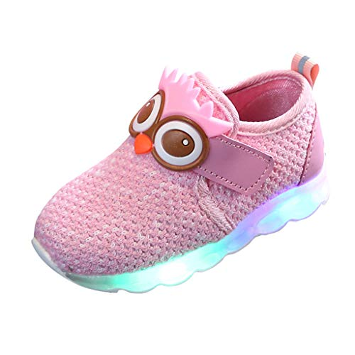 Kauneus Light up Shoes Sneakers for Boys Girls Cartoon Animals Knit Mesh Comfy Casual Sport Shoes LED Shoes for Kids Pink